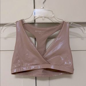 Beyond Yoga pink shimmery top